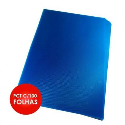 Capa p/Encadernação A4 Frente Ref.1336 c/100 Un Azul Transp.ACP