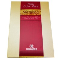 Papel Color Mais Metálico A4 120g Creme c/25 Fls - Romitec