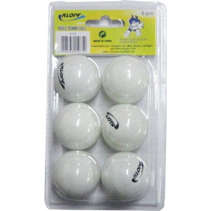 Bola de Ping-Pong 40mm Branca c/6 - Klopf