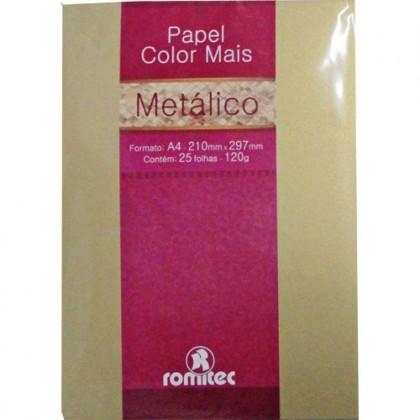 Papel Color Mais Metálico A4 120g Ouro Velho c/25 Fls - Romitec