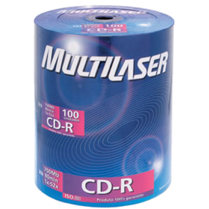 CD-R Gravável (80min/700Mb) 52X Tb c/100 Multilaser