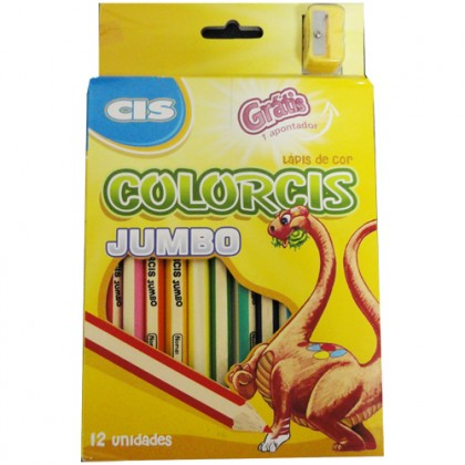 Lápis 12 Cores Colorcis Jumbo+Apontador - Sertic