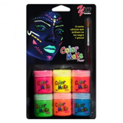 Pintando a Cara Color Make Fluor 6 Cores+1 Pincel-Yur