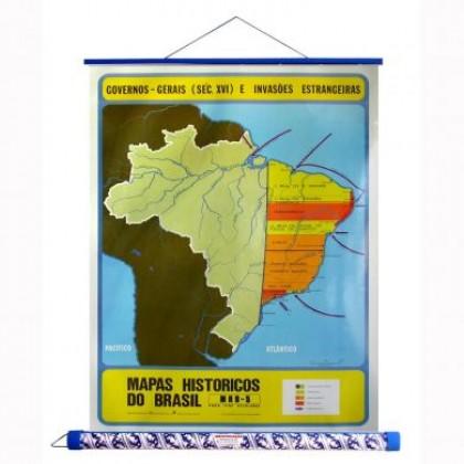 Mapa Laminado HB: Gov. Gerais e Invasões Estrangeiras Séc. XVI - ECA