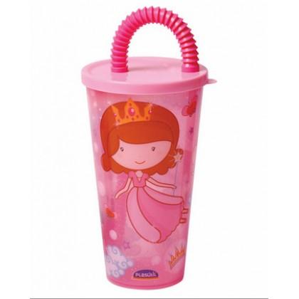 Copo Plástico Infântil c/Canudo Baby Princess 430ml - Plasútil
