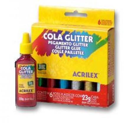 Cola Colorida c/Glitter 23g 6 Cores - Acrilex