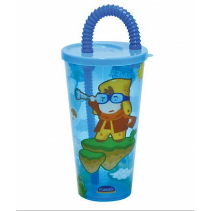 Copo Plástico Infântil c/Canudo Oliver 430ml - Plasútil