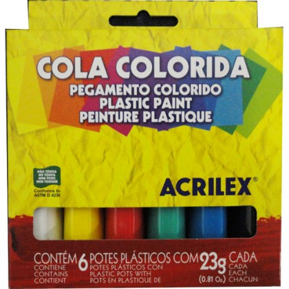 Cola Colorida 23g 6 Cores - Acrilex