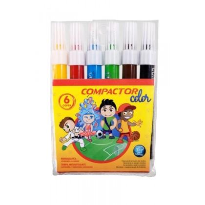 Caneta Hidr. 6 Cores Compactor Color